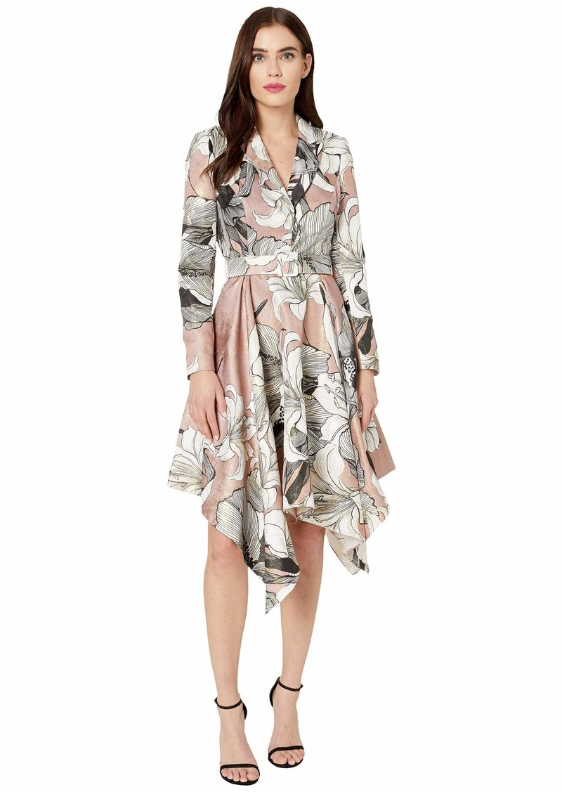 Badgley Mischka Printed Handkerchief Suit Dress