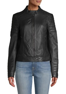 Badgley Mischka Quilted Lamb Leather Moto Jacket