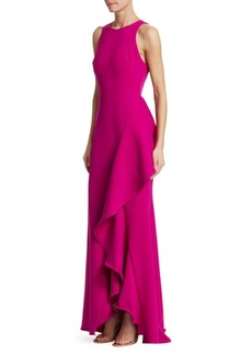 Badgley Mischka Racer Butter Crepe Side Ruffle Dress