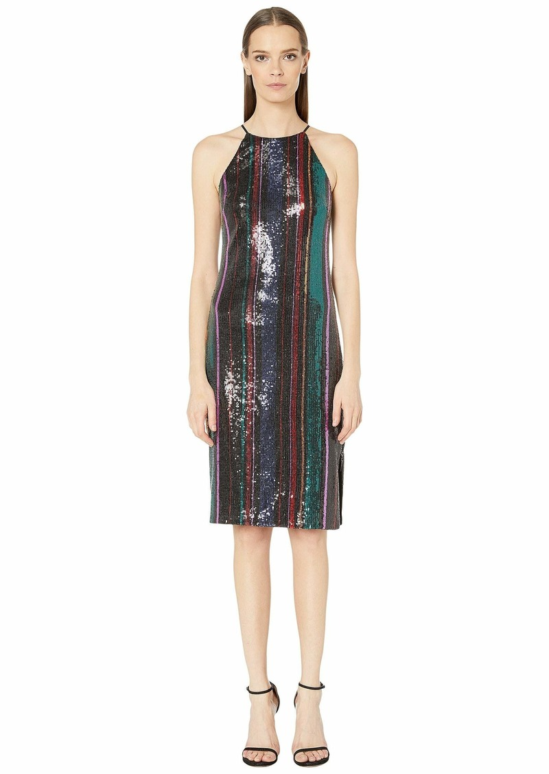 Badgley Mischka Racerback Sequin Stripe Cocktail