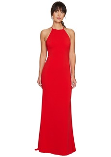 Badgley Mischka Racerback Stretch Crepe Halter Gown