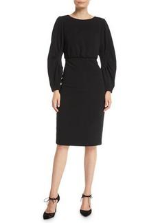 Badgley Mischka Ruched Long-Sleeve Sheath Dress