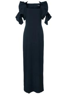 Badgley Mischka ruffle-detail maxi dress