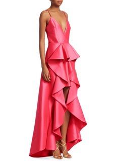 Badgley Mischka Ruffle Hi-Lo Gown