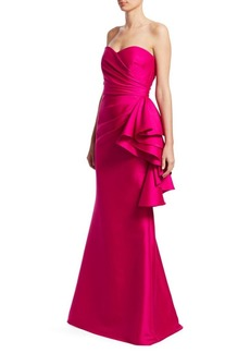 Badgley Mischka Ruffle Strapless Gown