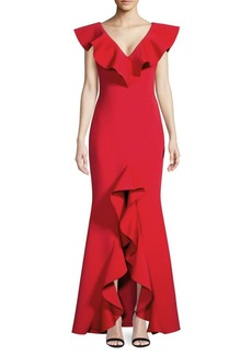 Badgley Mischka Ruffled Scuba Gown