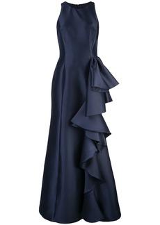 Badgley Mischka ruffled side gown