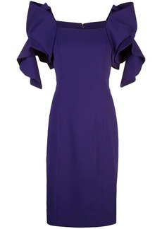 Badgley Mischka ruffled sleeves dress