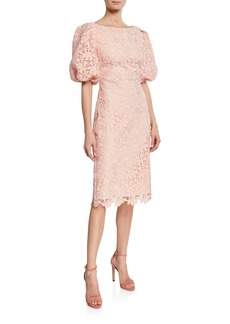 Badgley Mischka Scallop-Lace High-Neck Balloon-Sleeve Cocktail Dress