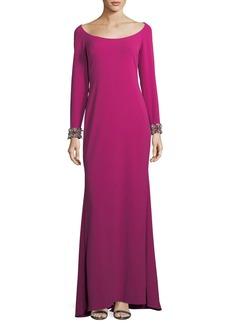 Badgley Mischka Scoop-Neck Embellished-Cuff Gown