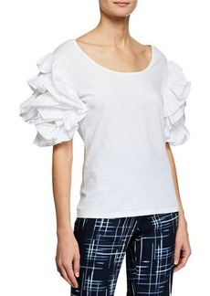 Badgley Mischka Scoop-Neck Ruffle-Sleeve Tee