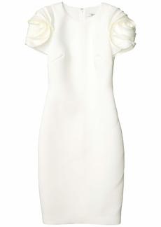 Badgley Mischka Scuba Cocktail Dress with Floral Shoulder Detail