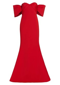 Badgley Mischka Scuba Off-the-Shoulder Gown