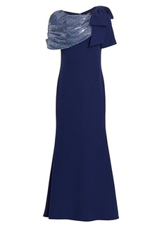 Badgley Mischka Sequin Asymmetric Bow Mermaid Gown