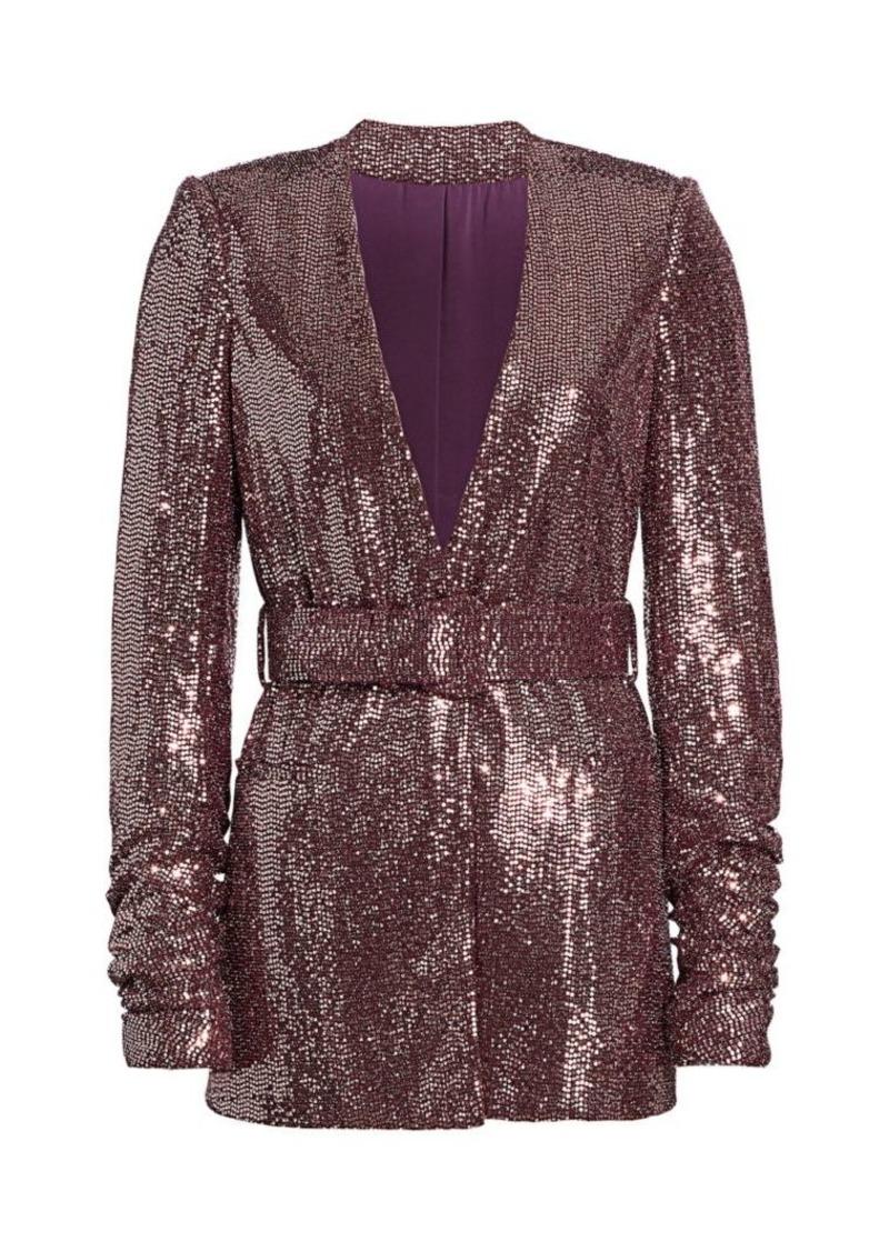 Badgley Mischka Sequin Belted Jacket