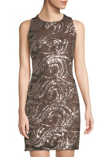 Badgley Mischka Sequin-Embroidered Bodycon Dress