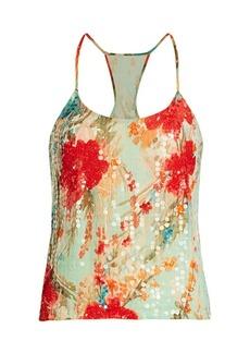 Badgley Mischka Sequin Floral Top