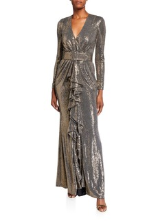 Badgley Mischka Sequin Long-Sleeve Belted Gown with Cascading Ruffle