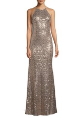 Badgley Mischka Sequined Halter-Neck Evening Gown