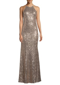 Badgley Mischka Sequined Halter-Neck Evening Gown