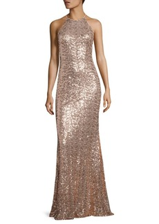 Badgley Mischka Sequined Racerback Gown
