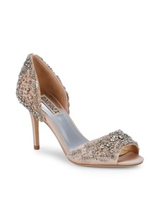 Badgley Mischka Shaina Beaded Crystal Peep Toe pumps