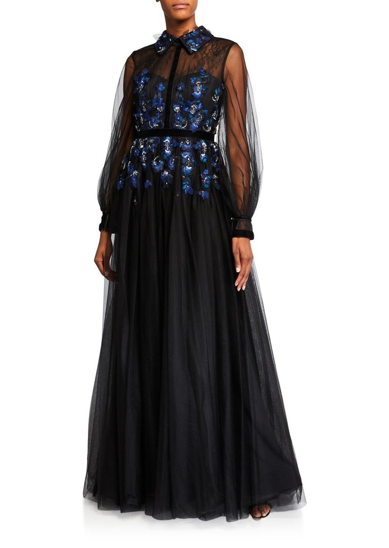 Badgley Mischka Sheer-Sleeve Embellished Tulle Shirt Gown