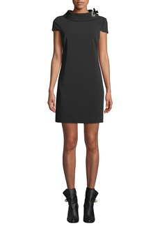 Badgley Mischka Short Shift Dress with Crystal Grommet Detail