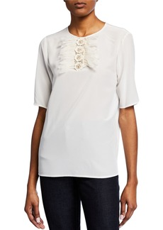 Badgley Mischka Short Sleeve Flower Embellished Top