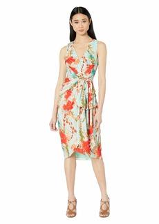 Badgley Mischka Sleeveless Aqua Print Runway Dress