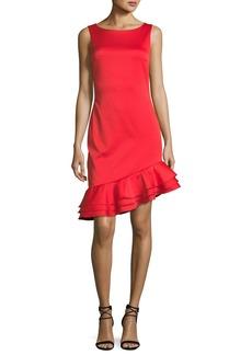 Badgley Mischka Sleeveless Asymmetric-Ruffle Sheath Cocktail Dress