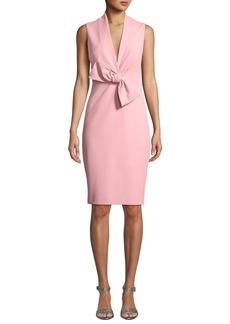Badgley Mischka Sleeveless Bow-Front Dress