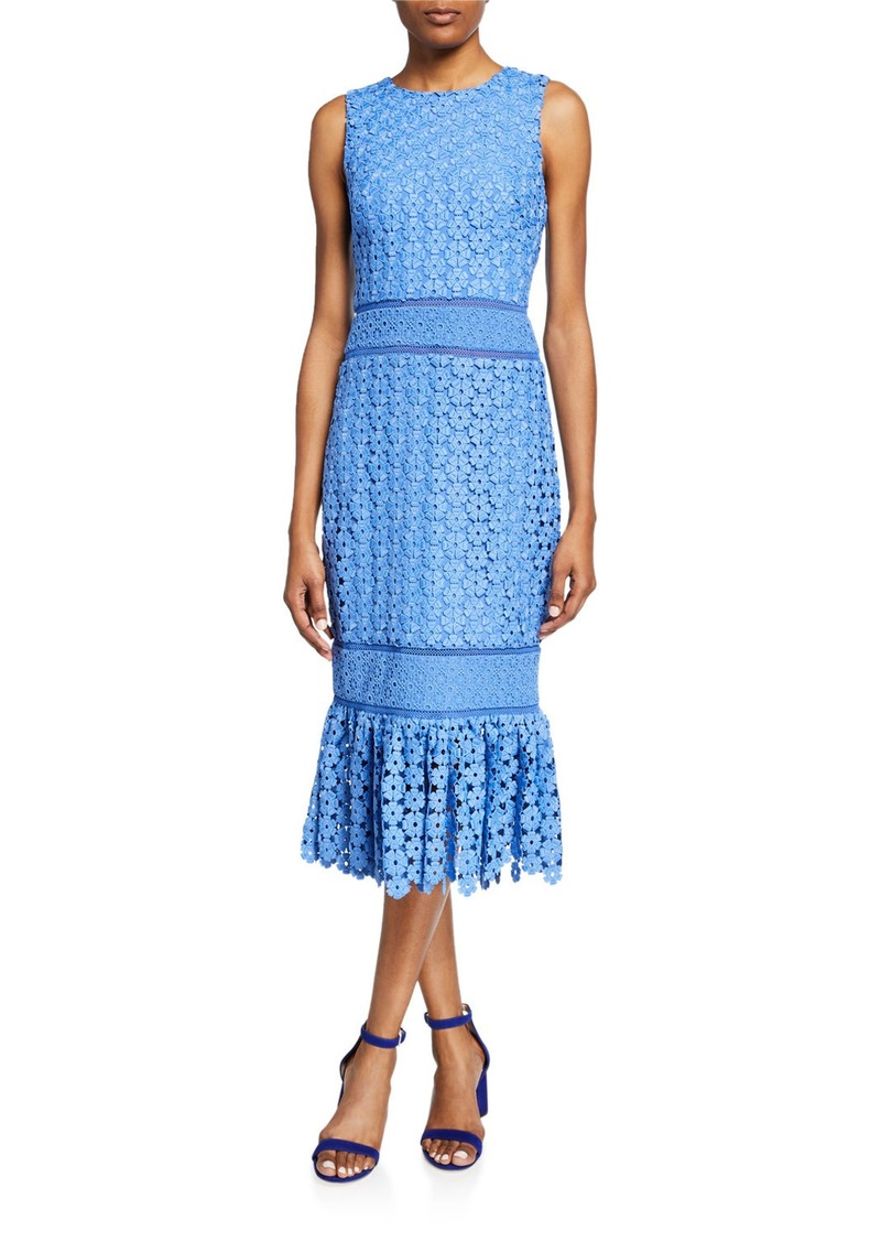 Badgley Mischka Sleeveless Combo Lace Sheath Dress