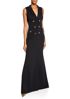Badgley Mischka Sleeveless Double-Breasted Coat Gown
