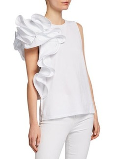 Badgley Mischka Sleeveless Flounce Tee
