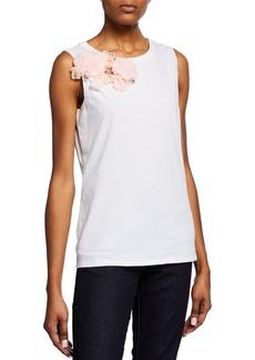 Badgley Mischka Sleeveless Flower Embellished Top