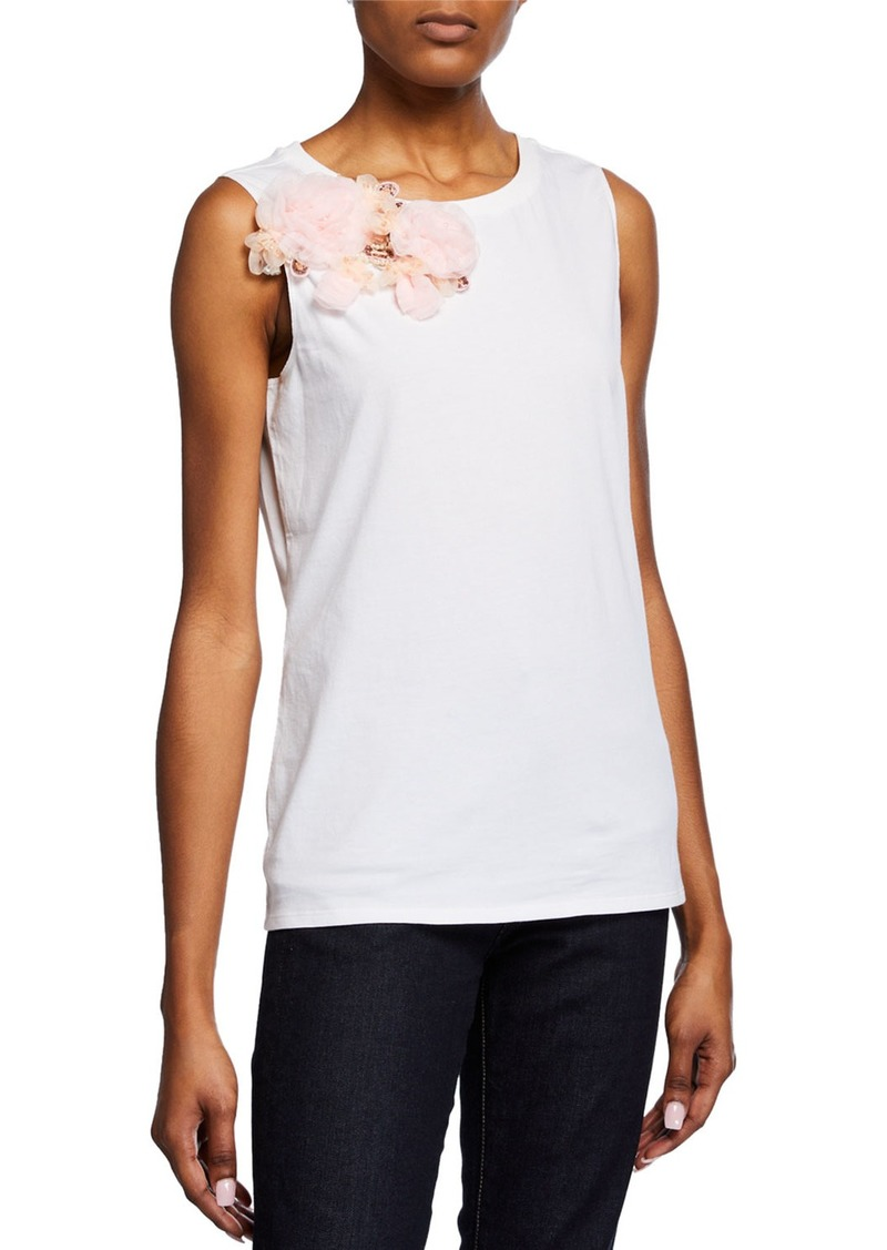Badgley Mischka Sleeveless Flower Embellished Top