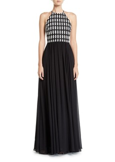 Badgley Mischka Sleeveless Geometric Lace Top Halter Gown w/ Georgette Skirt