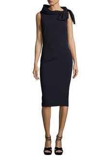 Badgley Mischka Sleeveless Tie-Neck Cocktail Dress