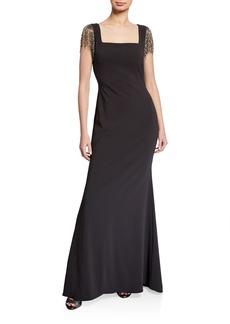 Badgley Mischka Square-Neck Beaded Fringe Sleeve Crepe Gown