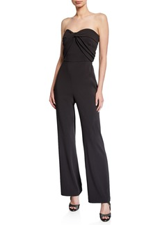Badgley Mischka Strapless Bow-Front Crepe Jumpsuit