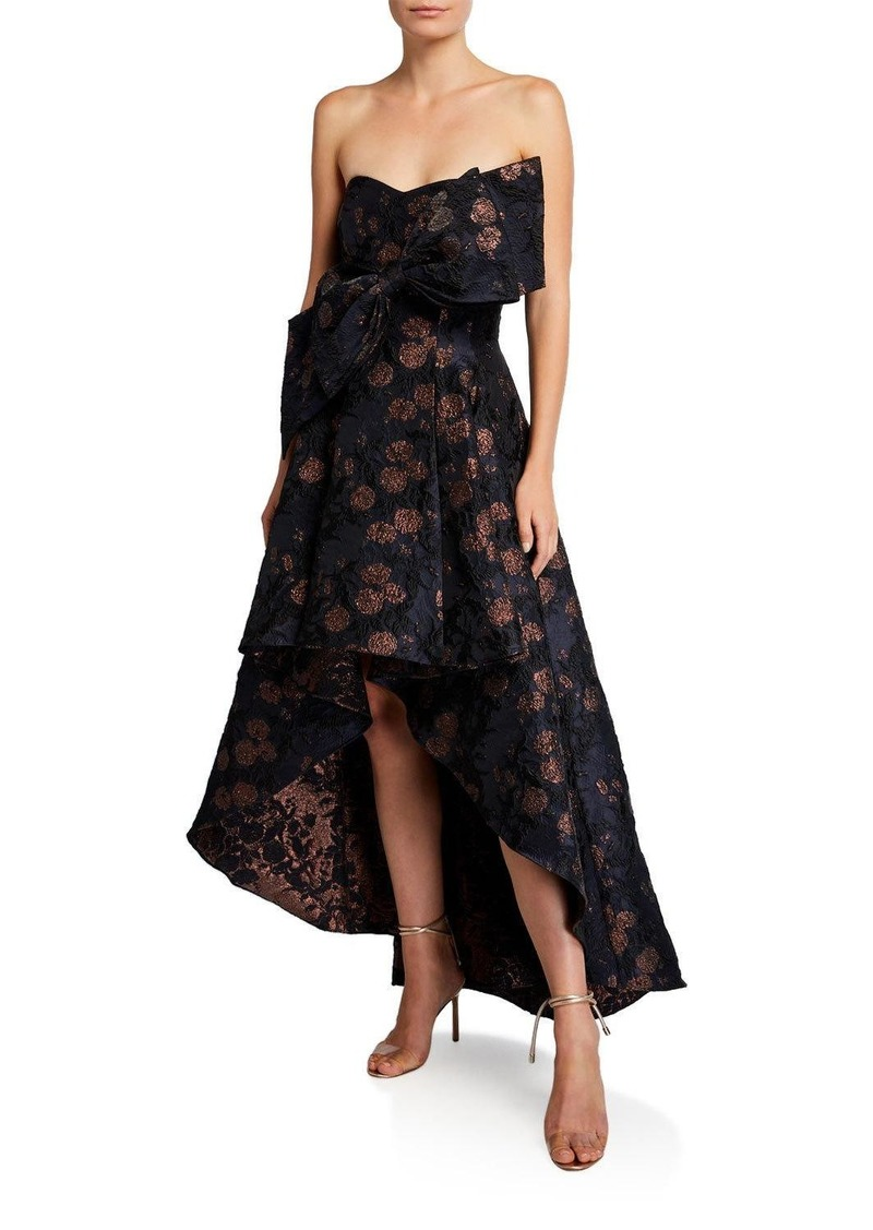 Badgley Mischka Strapless Brocade High-Low Cocktail Dress with Big Bow
