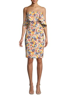 Badgley Mischka Strapless Ditsy-Print Popover Dress