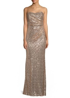 Badgley Mischka Strapless Drape Sequin Gown