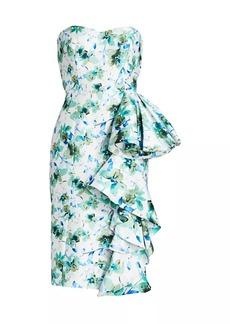 Badgley Mischka Strapless Floral Printed Mikado Dress