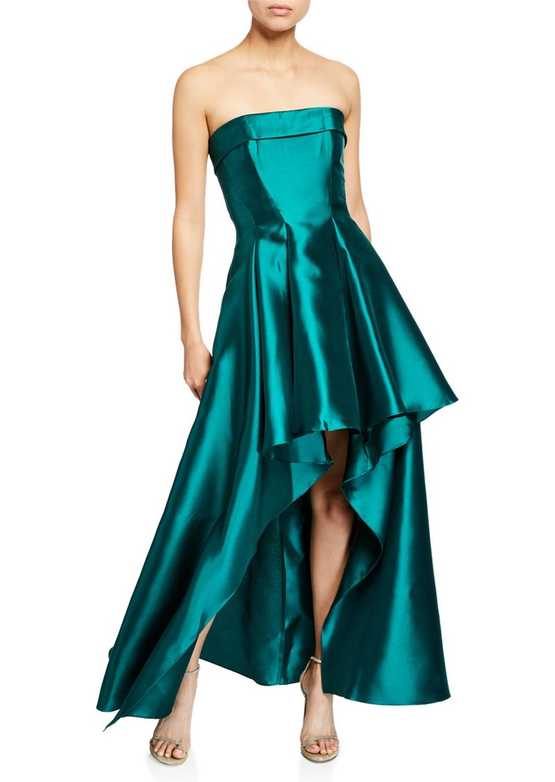 Badgley Mischka Strapless High-Low Solid Mikado Gown