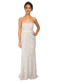 Badgley Mischka Strapless Metallic Lace Runway Gown