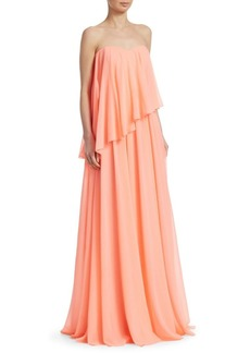 Badgley Mischka Strapless Overlay Gown