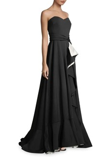 Badgley Mischka Strapless Scuba Ruffle Wrap Gown