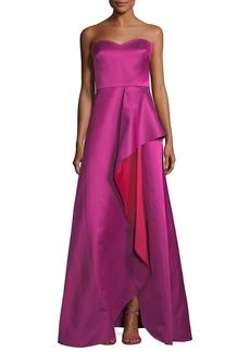 Badgley Mischka Strapless Sweetheart Contrast Ruffle Gown